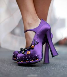 Embellished purple shoes at MFW. Details In Streetstyle