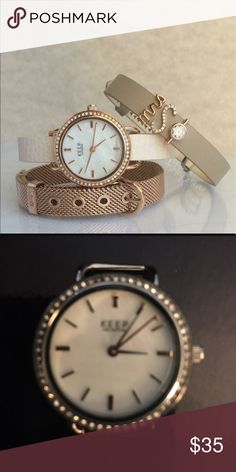 """keeps collective bracelet watch Ross gold This listing is for the watch face only rose gold and silver works. They're eye-catching, highly accurate, and always ready for a good time. These TimeKeys™ have a genuine mother of pearl face and shimmering pavé around the dial. TimeKeys™ are powered by reliable quartz movement. Rose Gold and silver 1''width x 1"""" length.Fits all Keepers except the Mini Pendant. Please note that TimeKeys™ are not water resistant. Silver ionic plated.Lead and nickel…"""