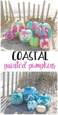 Coastal pumpkin decorating ideas! So cute for the warmer places for Halloween.