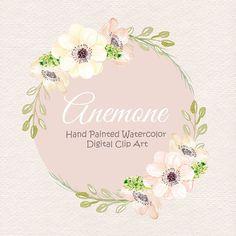 Watercolor Anemone Blush clipart watercolor by designloverstudio