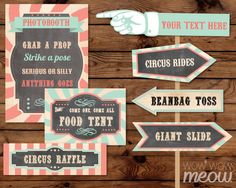 28 Vintage Circus Signs Printable INSTANT DOWNLOAD Coral Mint Pastel Direction Arrow Signpost Personalize Birthday Carnival Party Editable by wowwowmeow on Etsy https://www.etsy.com/listing/265516496/28-vintage-circus-signs-printable