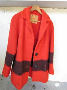 Vintage Red Black Stripe Ladies Hudson's Hudson Bay Coat Jacket Size L | eBay