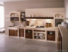 How lovely is this kitchen. Would look great in the cave house ...