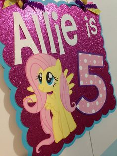 My Little Pony Fluttershy door/wall sign for birthday party decoration