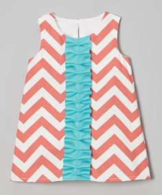 This Caught Ya Lookin' Coral Zigzag Satin Ruffle Shift Dress - Infant, Toddler & Girls by Caught Ya Lookin' is perfect! #zulilyfinds