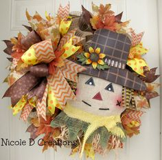Scarecrow Sunflower Fall Brown Green Burlap by NicoleDCreations
