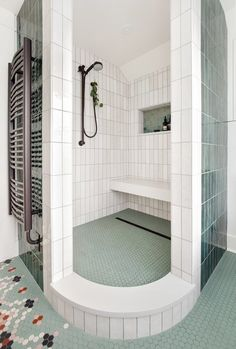 Master Bathroom Shower, Basement Bathroom, Craftsman Style Bungalow, Open Showers, Aging In Place, Modern Ranch, White Countertops, Glass Door, Portland