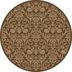 Jewel Damask Brown 5 ft. 3 in. Round Area Rug