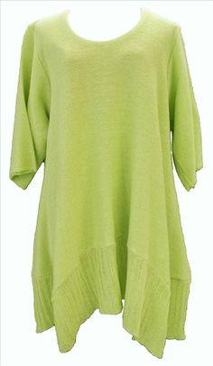 AKH Fashion Labina Sosan Lagenlook Stricktunika Long Pullover in grün One Size Mode bei www.modeolymp.lafeo.de