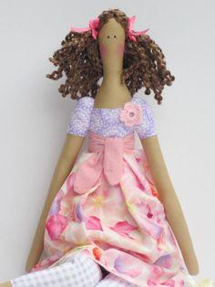 Rag doll Tilda doll fabric doll lilac pink by HappyDollsByLesya