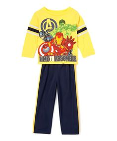Another great find on #zulily! Avengers 'Time to Assemble' Tee & Blue Pants - Toddler #zulilyfinds