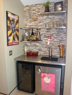 """The adult beverage center ;o) Sometimes it doubles as the """"child art display area"""" as well."""
