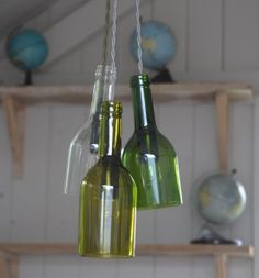 Wine bottle #upcycle to hanging lamp via Baileys, @totgreencrafts