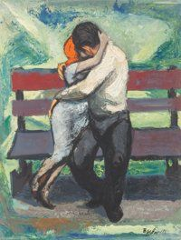 Rosalie Berkowitz (American, 1906-1990) The Lovers, Paris, Spring Oil on board 18 x 14 inches (45.7 x 35.6 cm) Signe