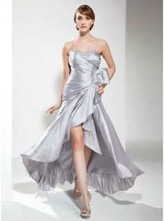 A-Line Princess Sweetheart Asymmetrical Taffeta Prom Dress With Ruffle Beading Sequins 018020799 g20799