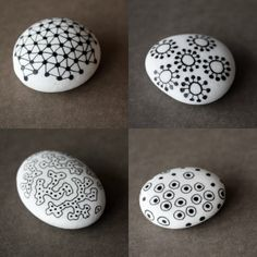 stones - river rock painted white with black designs