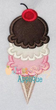 Triple Scoop Cone Applique Design