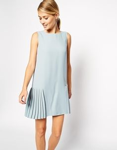 Asos Shift Dress with Drop Waist and Pleated Skirt - Blue on shopstyle.co.uk