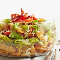 If you love BLT sandwiches (and who doesn't?), then you'll want to make this crunchy salad with garlicky croutons, romaine lettuce, tomato, and bacon for July 4th. Since it's a layered salad, you'll get all of the fantastic flavors in each bite.