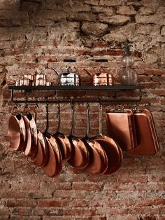 ( We have a soft spot for copper cookware at The Cook's Atelier Copper Dishes, Copper Pans, Copper Kitchen, Casseroles, Copper Cooking Pan, Spot Mural, Pan Storage, Storage Ideas, Romantic Homes