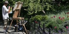plein air artist using a french easel in a garden