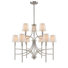 New Design 9106-9-PW-OPL - Taylor PW 32-inch Pewter & Opal Shade 9-Light Chandelier