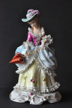Lovely Victorian Antique Lace Porcelain Lady Figurine | eBay