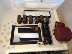 DIY space saving vanity area (good idea,baskets on shelves-bad colours)