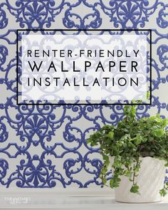 Are you loving the wallpaper trend but can't bring it into your home because you're a renter? Check out this renter-friendly wallpaper installation that is completely removable! Peel Off Wallpaper, How To Install Wallpaper, Love Wallpaper, Removable Wallpaper For Renters, Modern Home Offices, Diy Home Decor Easy, Contemporary Home Decor, Textured Walls, Decorating Tips