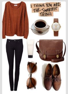 Fall outfit the Orange red color #fashion