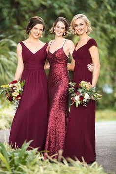 Lovely Wine Maroon Deep Cut V Neckline Bridesmaid Dresses #bridaldresses #weddingdresses #bridesmaiddresses