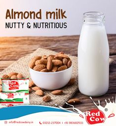 Prepare nutty and nutritious almond milk with Red Cow Dairy Milk To order Red Cow Dairy Milk Call: 9836825111 Almond Milk, Cow, Dairy, India, Fresh, Breakfast, Morning Coffee, Goa India, Cattle