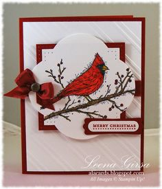 Don't have this stamp but like the layout and could use the bird punch to make a cardinal and use the branch and berries with it.