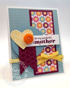 Stampin up floral district catalog demonstrator blog punch circle square new mothers day idea card