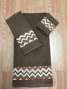 Set of 3 Bathroom towels Brown chevron orange. by DesignsnThread11