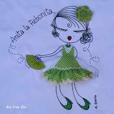 DÍA TRAS DÍA: DESPEDIDA DE SOLTERA MUY FLAMENCA Embroidery Fashion, Embroidery Applique, Embroidery Patterns, Quilt Patterns, Sharpie Zeichnungen, Sharpie Drawings, Bordados E Cia, Bijoux Fil Aluminium, Chain Stitch