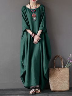 Cheap vestidos plus, Buy Quality shirt dress directly from China long shirt dress Suppliers: 2019 ZANZEA Womens Crewneck Batwing Sleeve Baggy Maxi Long Shirt Dress Casual Party Kaftan Solid Robe Vestido Plus Size Baggy Dresses, Linen Dresses, Casual Dresses, Floral Dresses, Dress Outfits, Casual Outfits, Dress Plus Size, Plus Size Maxi Dresses, Long Sleeve Maxi