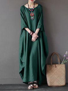 Cheap vestidos plus, Buy Quality shirt dress directly from China long shirt dress Suppliers: 2019 ZANZEA Womens Crewneck Batwing Sleeve Baggy Maxi Long Shirt Dress Casual Party Kaftan Solid Robe Vestido Plus Size Baggy Dresses, Linen Dresses, Casual Dresses, Floral Dresses, Dress Outfits, Casual Outfits, Mode Abaya, Mode Hijab, Dress Plus Size