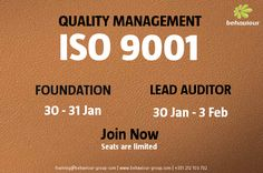 Become acquainted with the best practices for implementing and managing an QMS and mastering the Audit of an Quality Management System (QMS) based on ISO 9001. Register now. Guarantee your place.