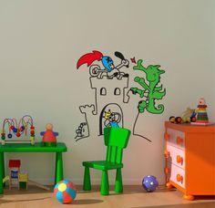 El castillo y el dragón, vinilo decorativo infantil para dar vida a sus sueños de cuento.