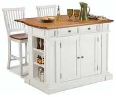 Home Styles Kitchen Island and Stools in White and Distressed Oak - transitional - kitchen islands and kitchen carts - by Cymax