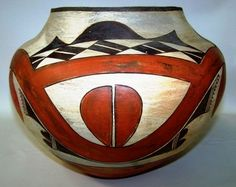 Native American Historic Acoma Polychrome Olla 919. Description: Native American historic Acoma, polychrome, olla, having split-leaf and undulating single rainbow designs. Dimensions: Approximate heig