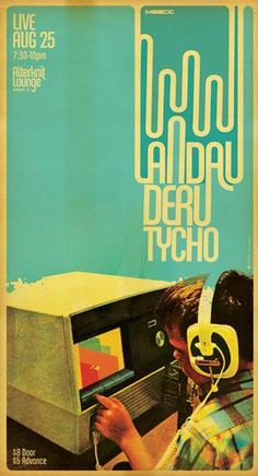 Poster Art - Scott Hansen / Concert Poster : Landau Deru Tycho ( Graphic Design / Vintage Audio Photography / Screen Print )