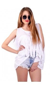 Loose λευκή μπλούζα με laser cut κρόσια