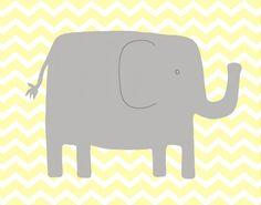 Elephant Nursery Art -- Chevron Elephant Art Print -- Yellow and Gray Nursery Decor -- Playful Elephant --Children Art, Kids Wall Art