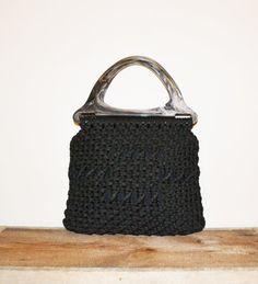 Vintage Purse 70s Crochet Purse Black Crochet by founditinatlanta, $40.00