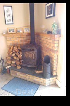 raised corner hearth for wood stove - Google Search