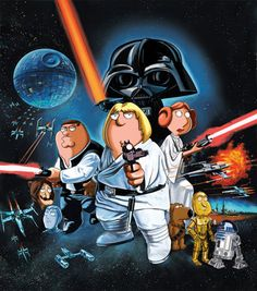 """Star Wars vs Family Guy """"Blue Harvest"""" Poster Unframed Metallic Lithograph - Acme Archives Limited Edition x from Mental XS Online Seth Macfarlane, Family Guy, Star Wars Episódio Iv, Blue Harvest, Harvest Moon, Alec Guinness, Darth Vader, Episode Iv, American Dad"""