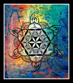 Acrylic and pen on paper...mandala representing goddess Shailaputri...