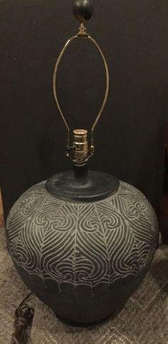 Beautiful Gray Chalk Ware Vessel Lamp | eBay